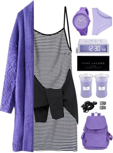 Purple Long Cardigan with Striped Dress