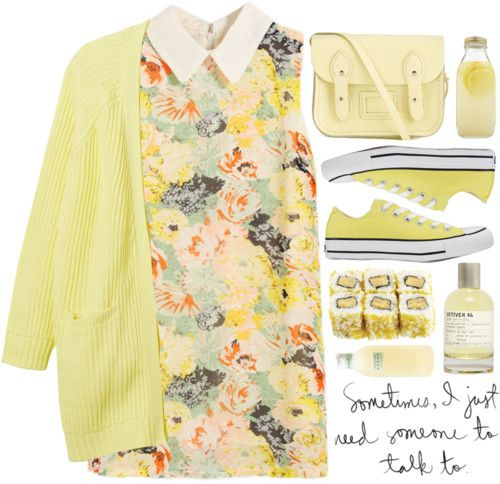 Yellow Long-Knit Cardigan with Printed Sleeveless Dress