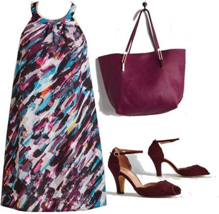 artistic print shift dress