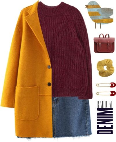 casual cool in yellow coat and denim skirt