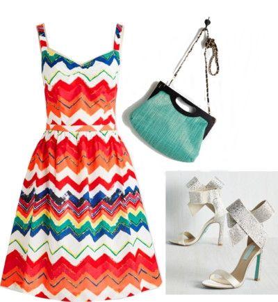 prismatic chevron stripes a-line dress
