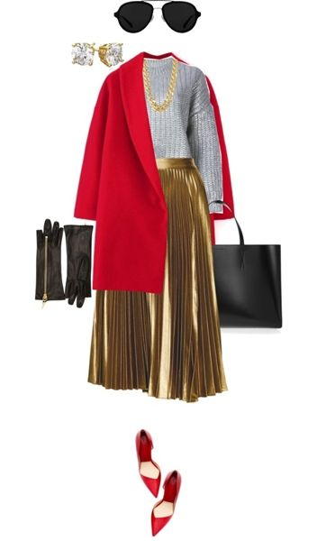bright red coat with metallic pieces