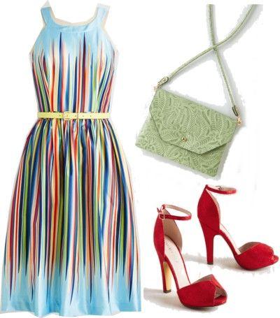 sky blue dress with rainbow stripes