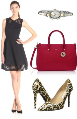 Eleese Mesh-Inset Fit-and-Flare Dress