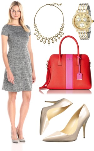 Short-Sleeve Marled A-Line Dress