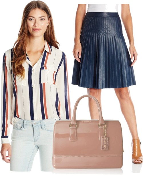 Stripe Short Sleeve Draped Front Blouse