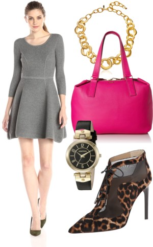 Textured Fit-and-Flare Sweater Dress