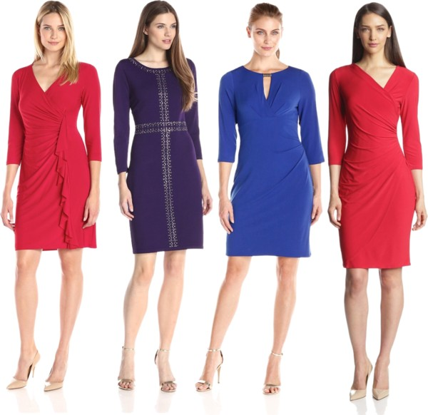 The Bright Solid Quarter Sleeve Dresses