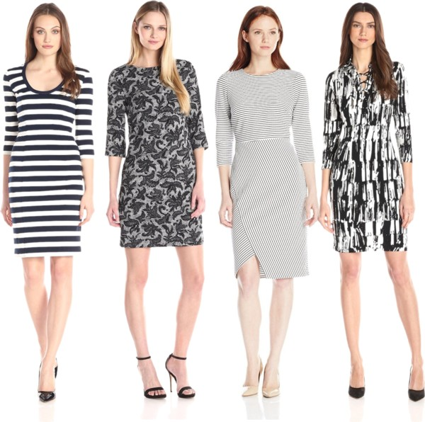 The Trendy Monochrome Quarter Sleeve Dresses