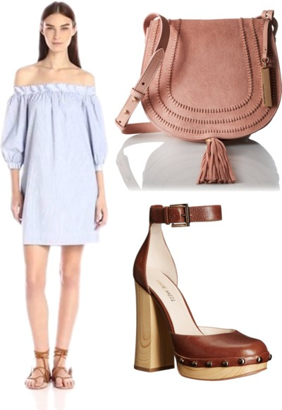 Tropez Striped Shirting Off-The-Shoulder Dress