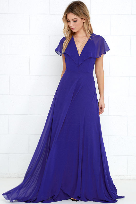Elegant Royal Blue Maxi Dress