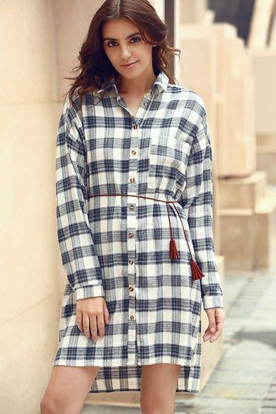 Plaid Shirt Collar Long Sleeve Shirt Dress