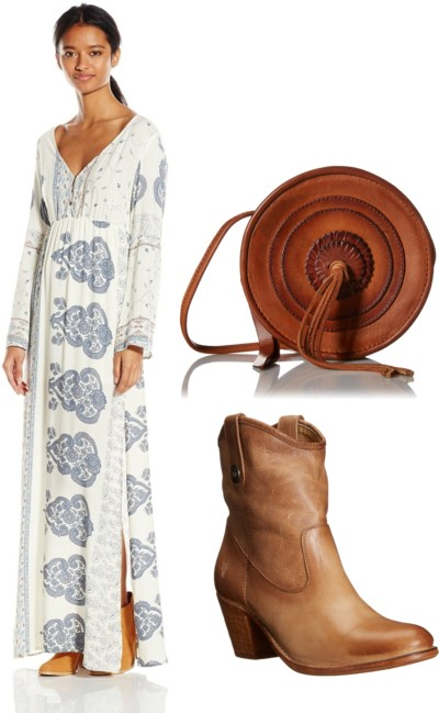 Printed Long-Sleeve Bohemian Maxi Dress