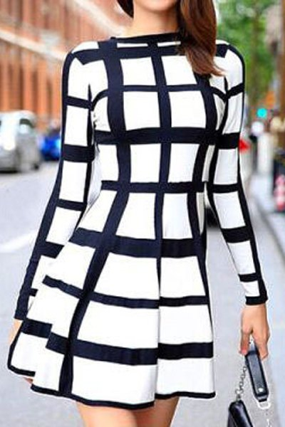 Round Neck Plaid Dress For Women