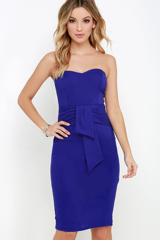 Royal Blue Strapless Dress