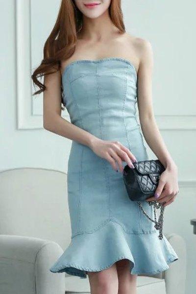 Ruffles Strapless Denim Mermaid Dress
