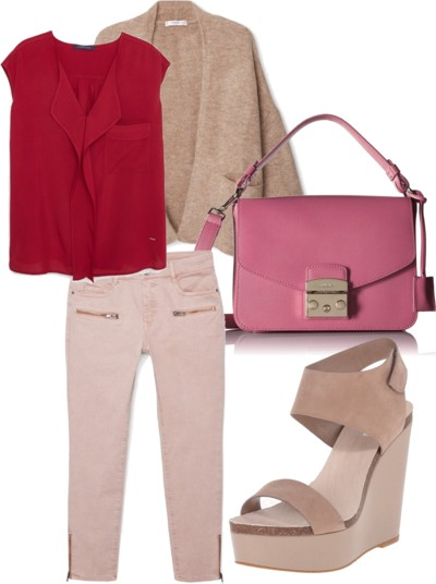 Trendy Rose Quartz Combo with Wedge Sandals