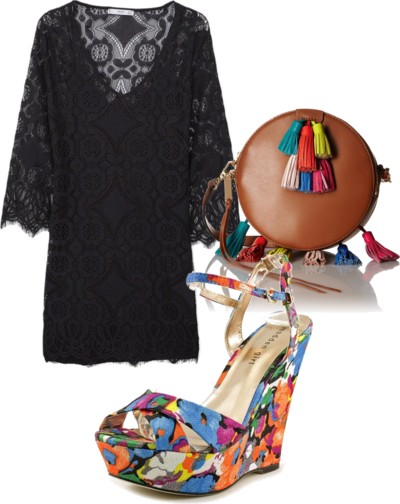 black lace dress with bright print wedge sandals