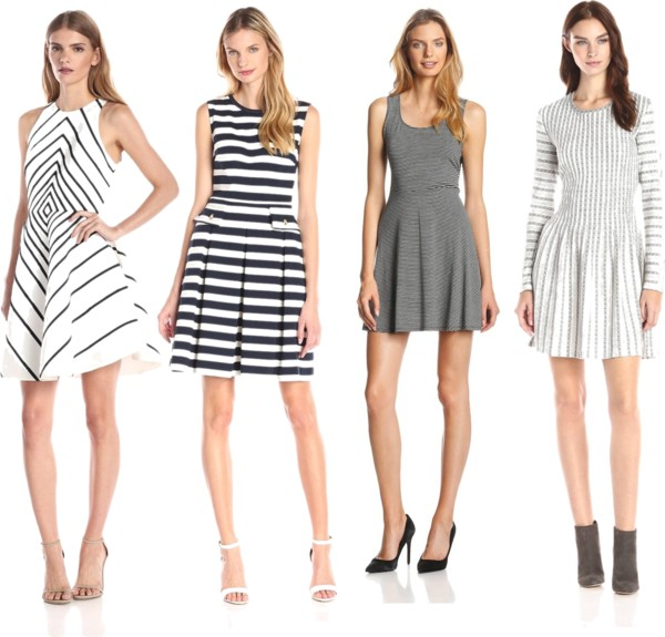 fit and flare stripes dresses