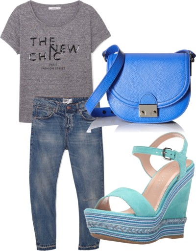 laid back look with boyfriend jeans and wedge sandals