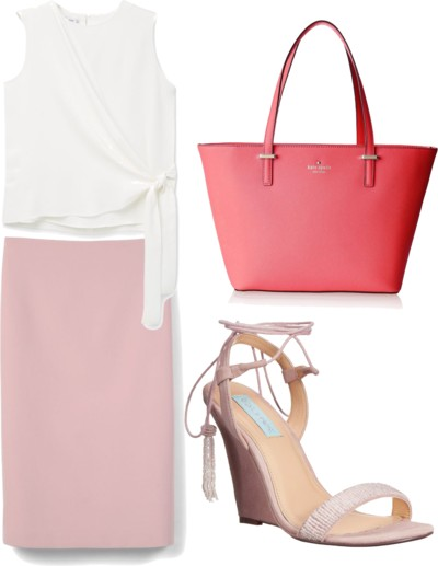 pastel pink for spring with wedge sandals