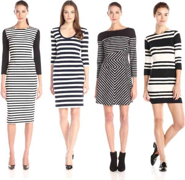 quarter sleeve stripes dresses