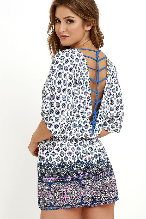 Bright Alright Ivory and Blue Print Romper