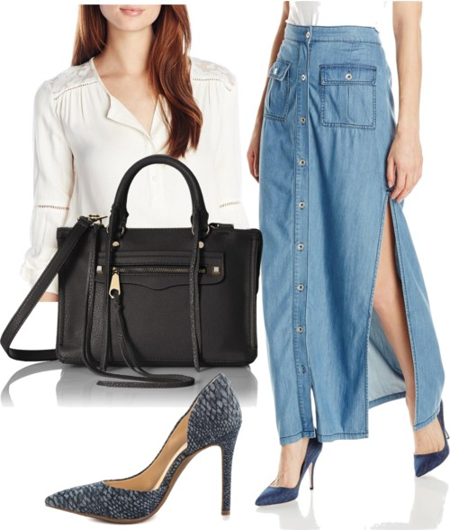 Button Down Denim Maxi Skirt