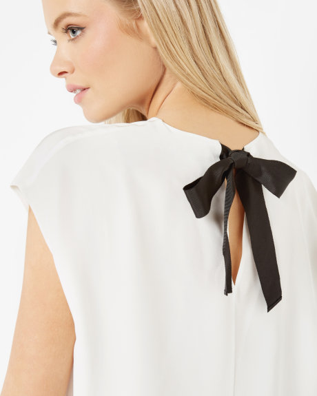 Ecru Silk ribbon tie top