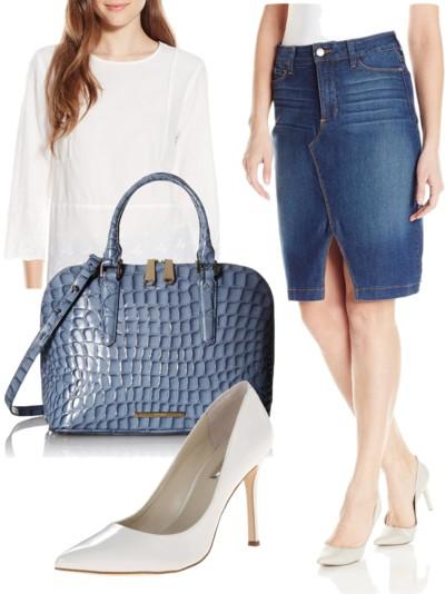 Knee-length slim jean skirt