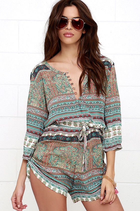 Mila Gypsy Playsuit Turquoise Print Romper