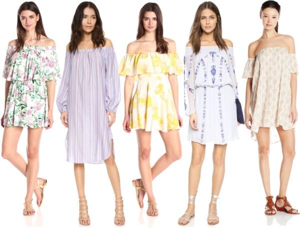 Off-shoulder modern boho dresses for daytime