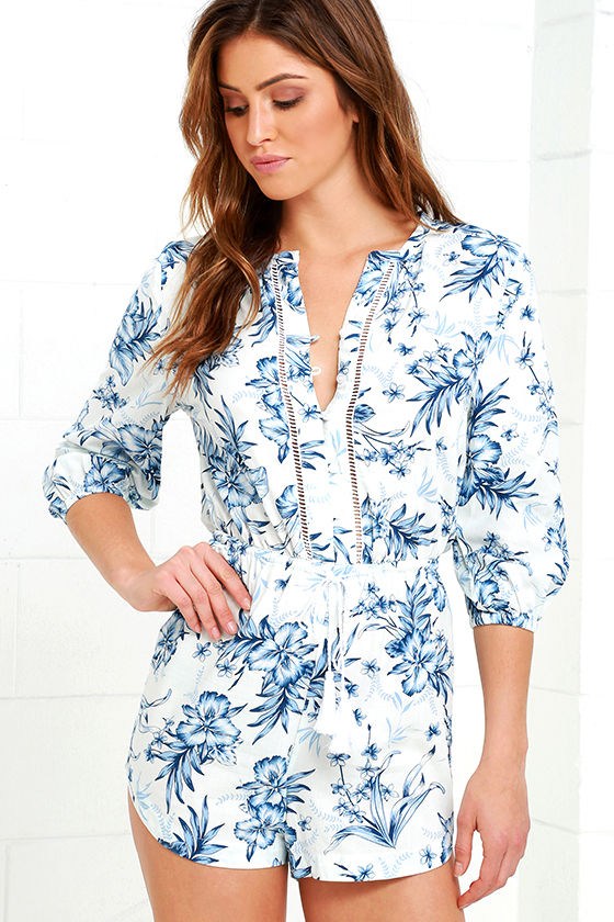 Rhythm Hanalei Blue Floral Print Romper