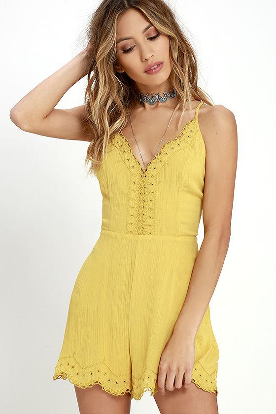 Sun Beam Yellow Embroidered Romper
