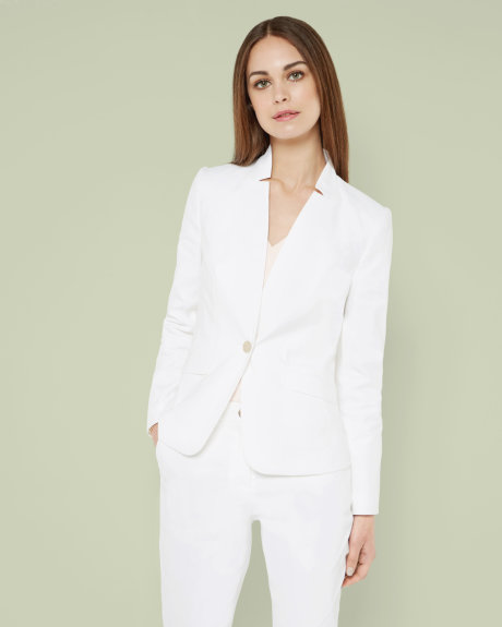 white Single button jacket