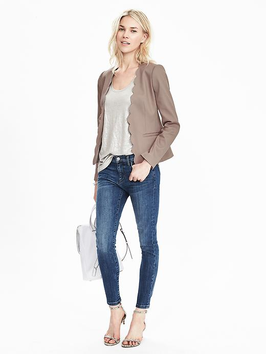 Collarless Scallop Blazer