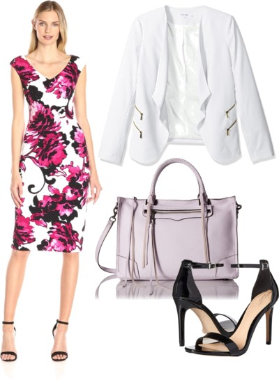 Floral Sheath Dress with White Blazer