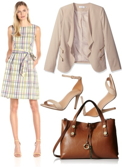 Plaid Boat Neck Fit and Flare Dress with Nude Jacket