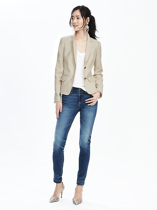 Textured Notch-Lapel Blazer
