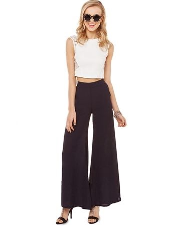Wide Leg Mid-rise Flared Pants