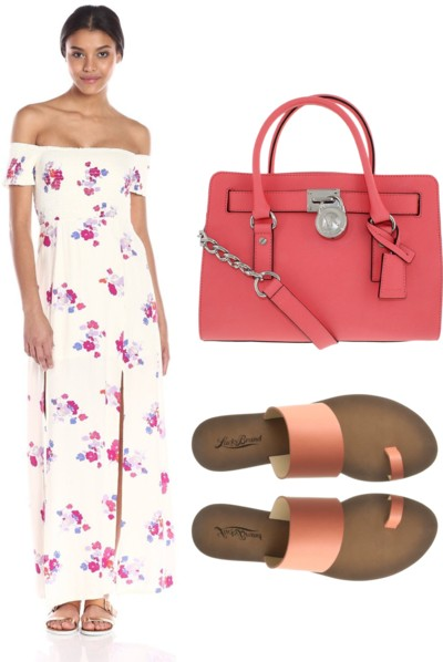 Blooms Print Off-Shoulder Maxi Dress