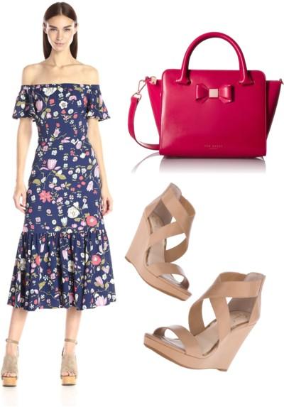 Off-The-Shoulder Tap Garden Dress