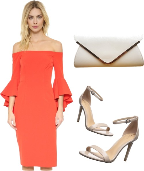 off-shoulder slit dress