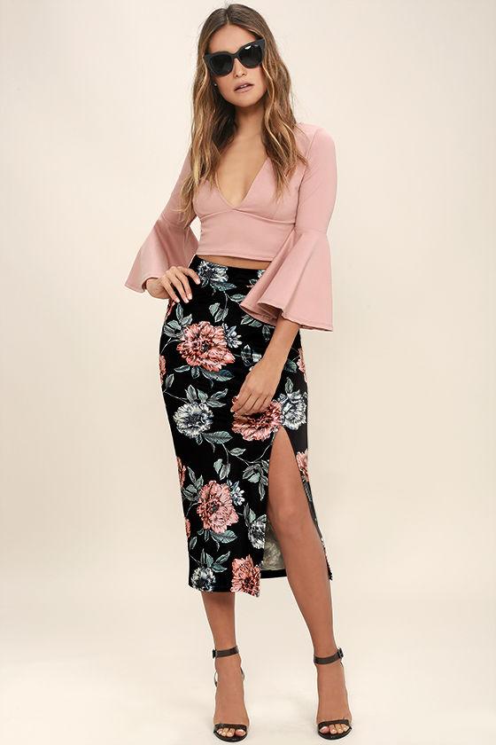 mink-pink-garden-of-eden-black-floral-print-velvet-midi-skirt
