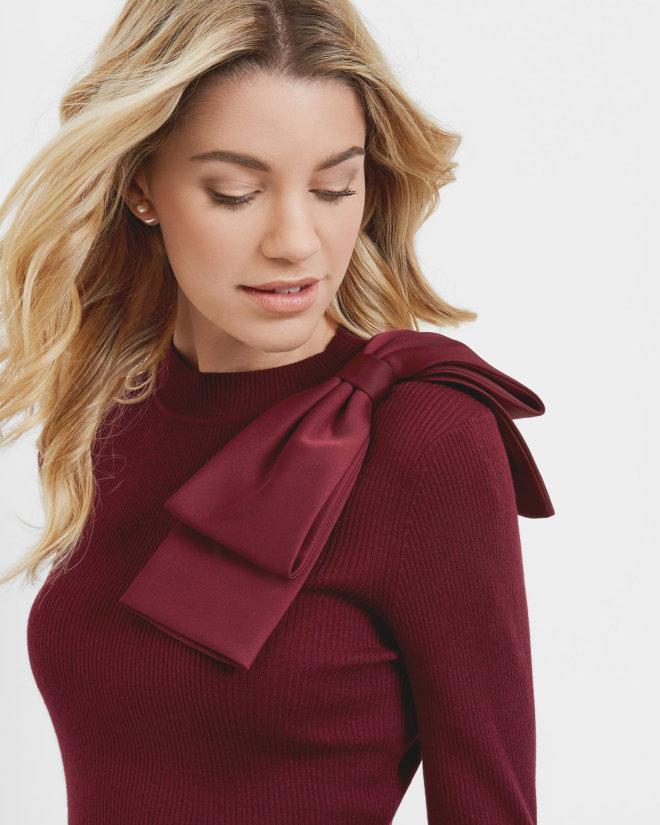 Bow detail cashmere-blend jumper