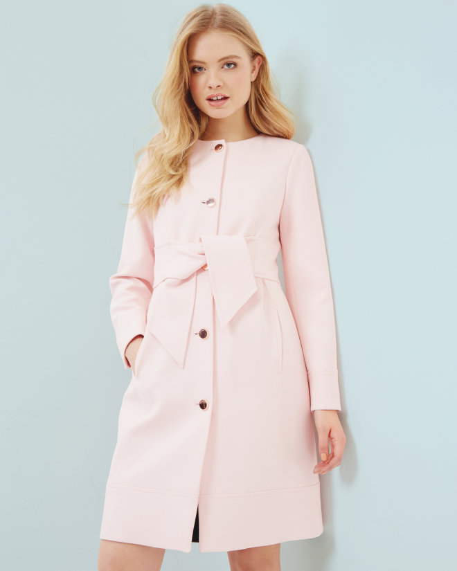 Collarless belted coat