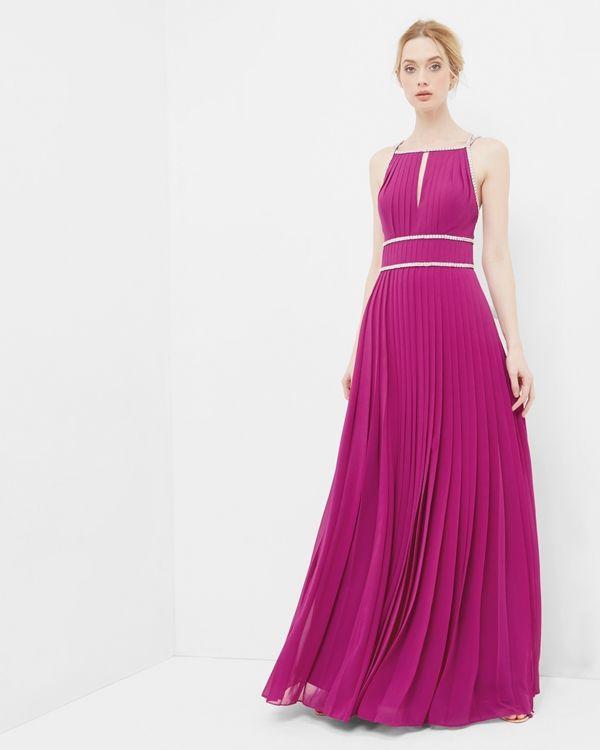 Embellished trim pleated maxi dress
