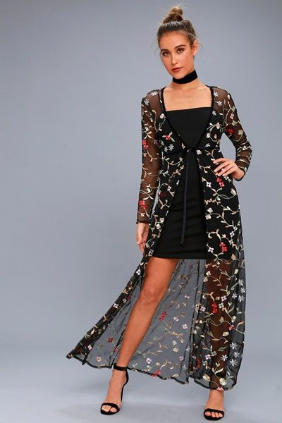 Black Embroidered Mesh Kimono Top