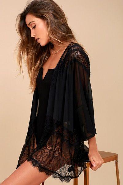 Black Sheer Lace Kimono Top
