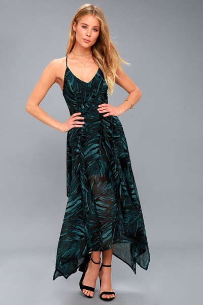 Black and Teal Green Print Sleeveless Midi Dress